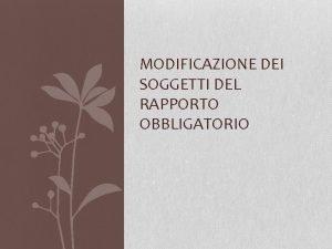 MODIFICAZIONE DEI SOGGETTI DEL RAPPORTO OBBLIGATORIO MODIFICAZIONI NEL