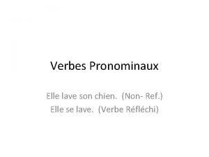 Verbes Pronominaux Elle lave son chien Non Ref
