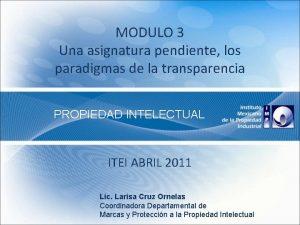 MODULO 3 Una asignatura pendiente los paradigmas de