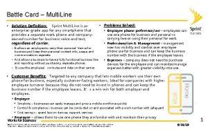 Battle Card Multi Line Solution Definition Sprint Multi