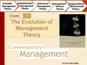 Scientific Management Theory Administrative Management Theory Chapter Behavioral
