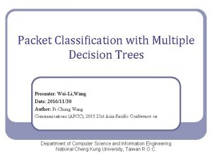 Packet Classification with Multiple Decision Trees Presenter WeiLi