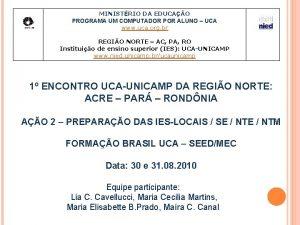 MINISTRIO DA EDUCAO PROGRAMA UM COMPUTADOR POR ALUNO