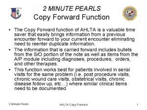 2 MINUTE PEARLS Copy Forward Function The Copy
