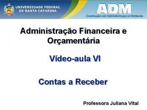 Administrao Financeira e Oramentria Vdeoaula VI Contas a