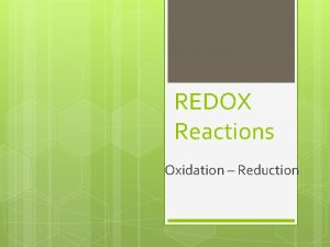 REDOX Reactions Oxidation Reduction Oxidation Reduction Reaction These