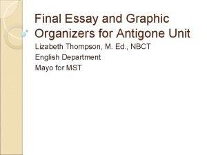 Final Essay and Graphic Organizers for Antigone Unit