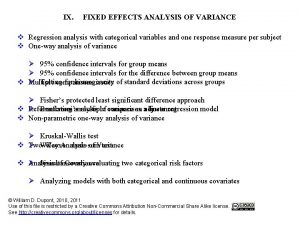 IX FIXED EFFECTS ANALYSIS OF VARIANCE v Regression