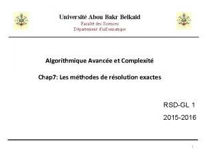Universit Abou Bakr Belkaid Facult des Sciences Dpartement