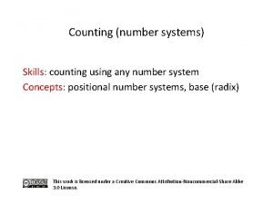 Counting number systems Skills counting using any number