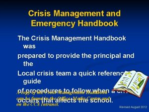 Crisis Management and Emergency Handbook The Crisis Management