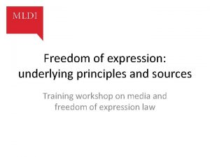 Freedom of expression underlying principles and sources Training