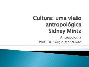 Cultura uma viso antropolgica Sidney Mintz Antropologia Prof