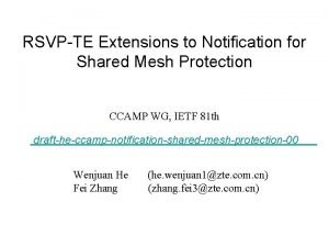 RSVPTE Extensions to Notification for Shared Mesh Protection