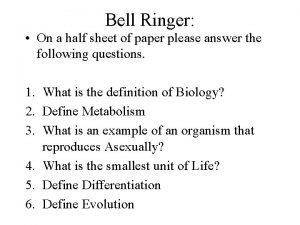 Bell Ringer On a half sheet of paper