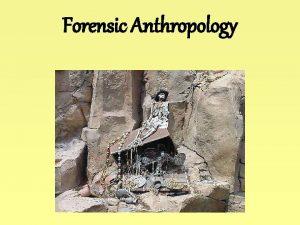 Forensic Anthropology Forensic Anthropology Anthropologyosteology Odontology Entomology Botany