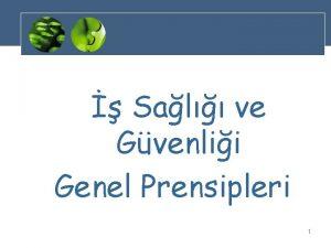 Sal ve Gvenlii Genel Prensipleri 1 Sal ve
