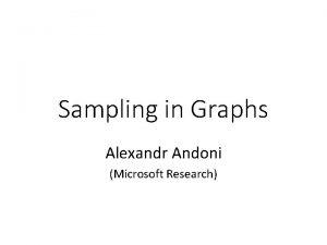 Sampling in Graphs Alexandr Andoni Microsoft Research Graph