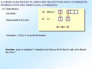 6 ORBITALES MOLCULAIRES DES MOLCULES POLYATOMIQUES HYBRIDATION DES