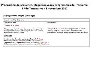 Proposition de squence Stage Nouveaux programmes de Troisime
