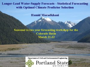 LongerLead WaterSupply Forecasts Statistical Forecasting with Optimal Climate