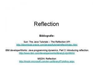 Reflection Bibliografie Sun The Java Tutorials The Reflection