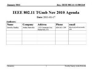 January 2011 doc IEEE 802 11 110012 r
