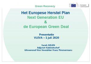 Green Recovery Het Europese Herstel Plan Next Generation