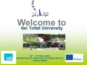 Welcome to Ibn Tofail University 23 th 27