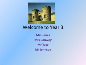 Welcome to Year 3 Mrs Jones Mrs Conway