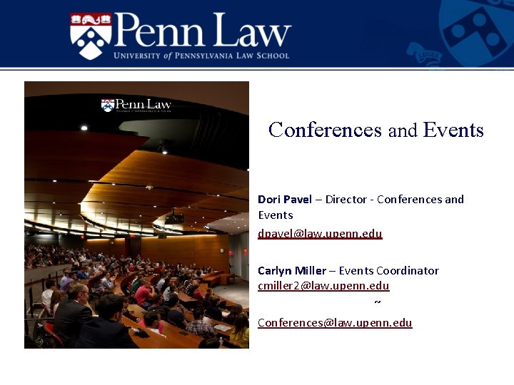 Conferences and Events Dori Pavel Director Conferences and