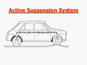 Active Suspension System Suspension Systems n Conventional suspension