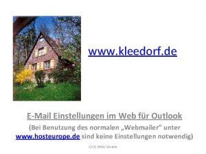 www kleedorf de EMail Einstellungen im Web fr