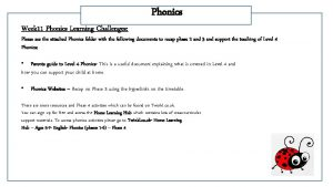 Week 11 Phonics Learning Challenges Phonics Please see