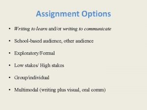 Assignment Options Writing to learn andor writing to