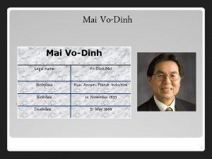 Mai VoDinh Legal name VoDinh Mai Birthplace Hue