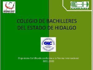 COLEGIO DE BACHILLERES DEL ESTADO DE HIDALGO Organismo