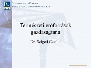 Termszeti erforrsok gazdasgtana Dr Szigeti Ceclia Az erforrsok