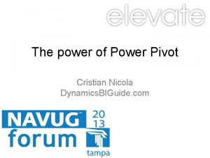 The power of Power Pivot Cristian Nicola Dynamics