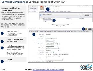 Contract Compliance Contract Terms Tool Overview Access the