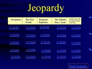 Jeopardy Navigation The New World European Explorers The