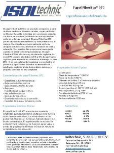 Papel Fiberfrax 970 Especificaciones del Producto El papel