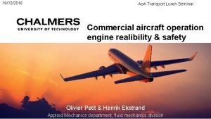 16122016 Ao A Transport Lunch Seminar Commercial aircraft