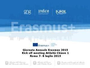 Giornata Annuale Erasmus 2015 Kick off meeting Attivit