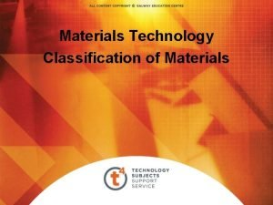 Materials Technology Classification of Materials Classification of Materials