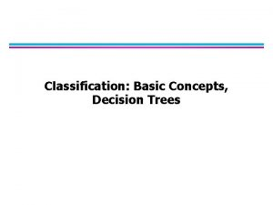 Classification Basic Concepts Decision Trees Classification Learning Definition