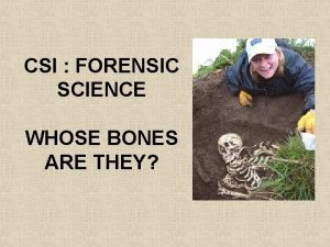 CSI FORENSIC SCIENCE WHOSE BONES ARE THEY FORENSIC
