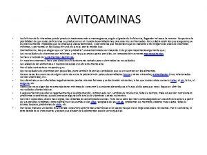 AVITOAMINAS La deficiencia de vitaminas puede producir trastornos