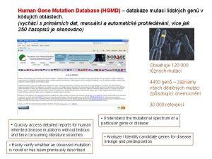Human Gene Mutation Database HGMD databze mutac lidskch
