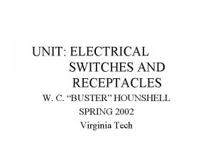 UNIT ELECTRICAL SWITCHES AND RECEPTACLES W C BUSTER